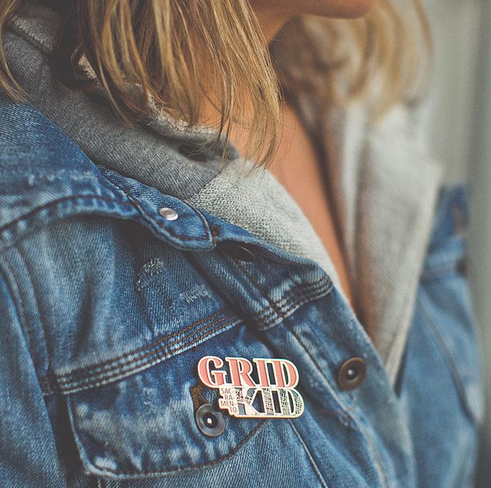 Sacramento Grid Kid Enamel Pin by Amber Witzke