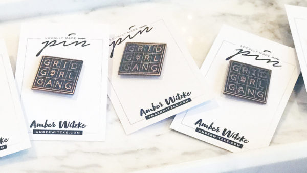 Grid Girl Gang Enamel Pin by Amber Witzke