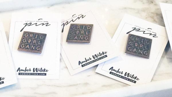Grid Girl Gang Enamel Pin by Amber Witzke