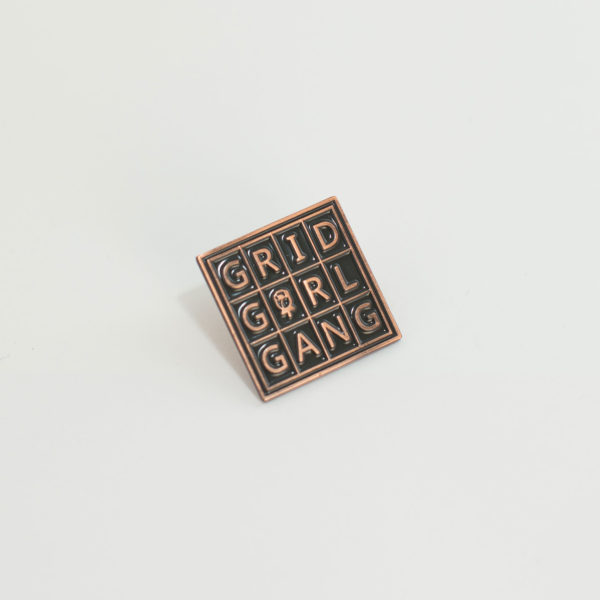 sacramento grid girl gang enamel pin